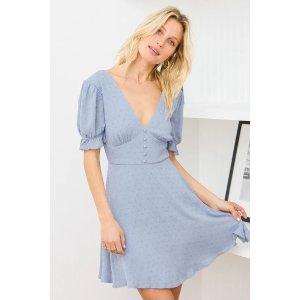 LULUSDaytime Delight Light Blue Swiss Dot Tie-Back Mini Dress