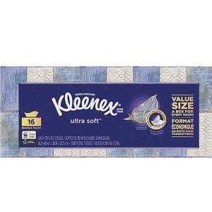 现价$12.32(原价$16.97)Kleenex 面巾纸 16盒装 1120张 日常消耗品囤货