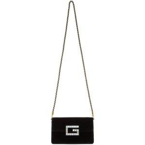 Gucci- Black Small Velvet Broadway Bag