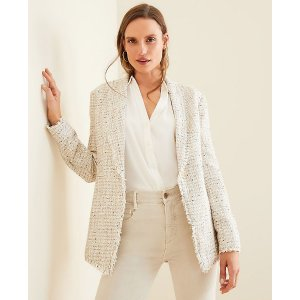 Ann TaylorFringe Tweed Shawl Collar Jacket | Ann Taylor