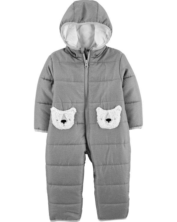 婴儿连帽保暖连体衣