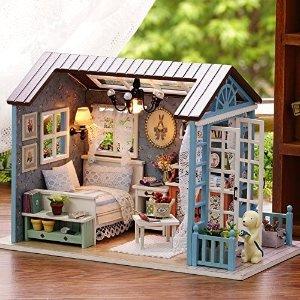 $22.43(原价$32.99)Rylai DIY 微型3D木制娃娃屋 带音乐盒