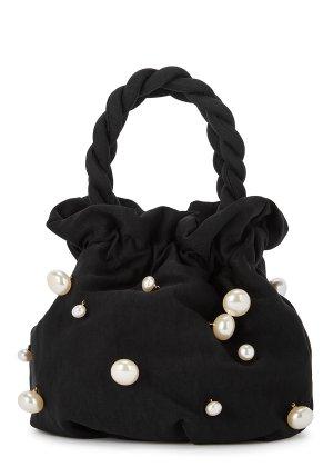 STAUD Grace faux pearl-embellished top handle bag - Harvey Nichols
