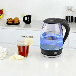 Kalorik1.7 Liter Cordless Electric Glass Kettle with Blue LED Lights