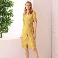Simple Retro 黄色波点V领连衣裙