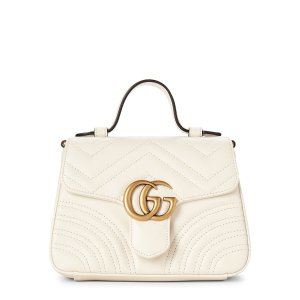 GucciWhite GG Marmont Mini Leather Top Handle Bag