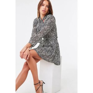 Forever21Belted Speckled Mini Dress
