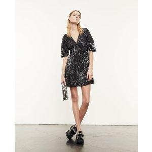 The KooplesShort black frilly printed dress