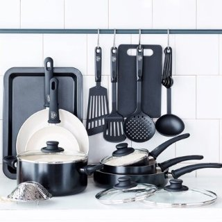 GreenLife Soft Grip Absolutely Toxin-Free Healthy Ceramic Non-stick Cookware Set, 18-Piece Set, Black