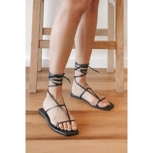 LULUSAisya Black Lace-Up Flat Sandals