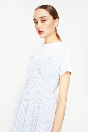 English Factory Strapless Dress With T-Shirt Underlay