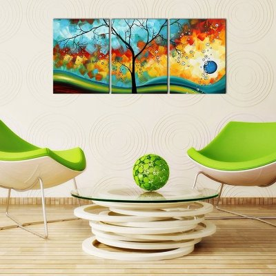 915d586ff28 Ode-Rin Art - Modern Abstract Landscape Tree 3 Pieces Wall Art Artwork Blue  Framed Giclee Canvas Prints for Living Room Home Decor