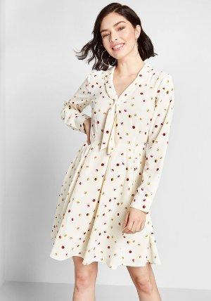 Pleasant Confidence Tie-Neck Dress Ivory Dots | ModCloth