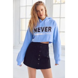 BDG Never Forever Cropped Hoodie