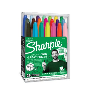 $6.95Sharpie Permanent Markers, Fine Point, Aaron Rodgers Special Edition, Assorted Colors, 21 Count