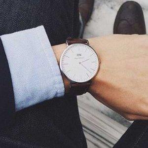 4.8折 $108.99(原价$229)史低价:Daniel Wellington Bristol 男士复古风格真皮表带手表