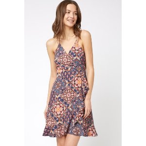 Juniper BluMedallion Wrap Ruffle Mini Dress