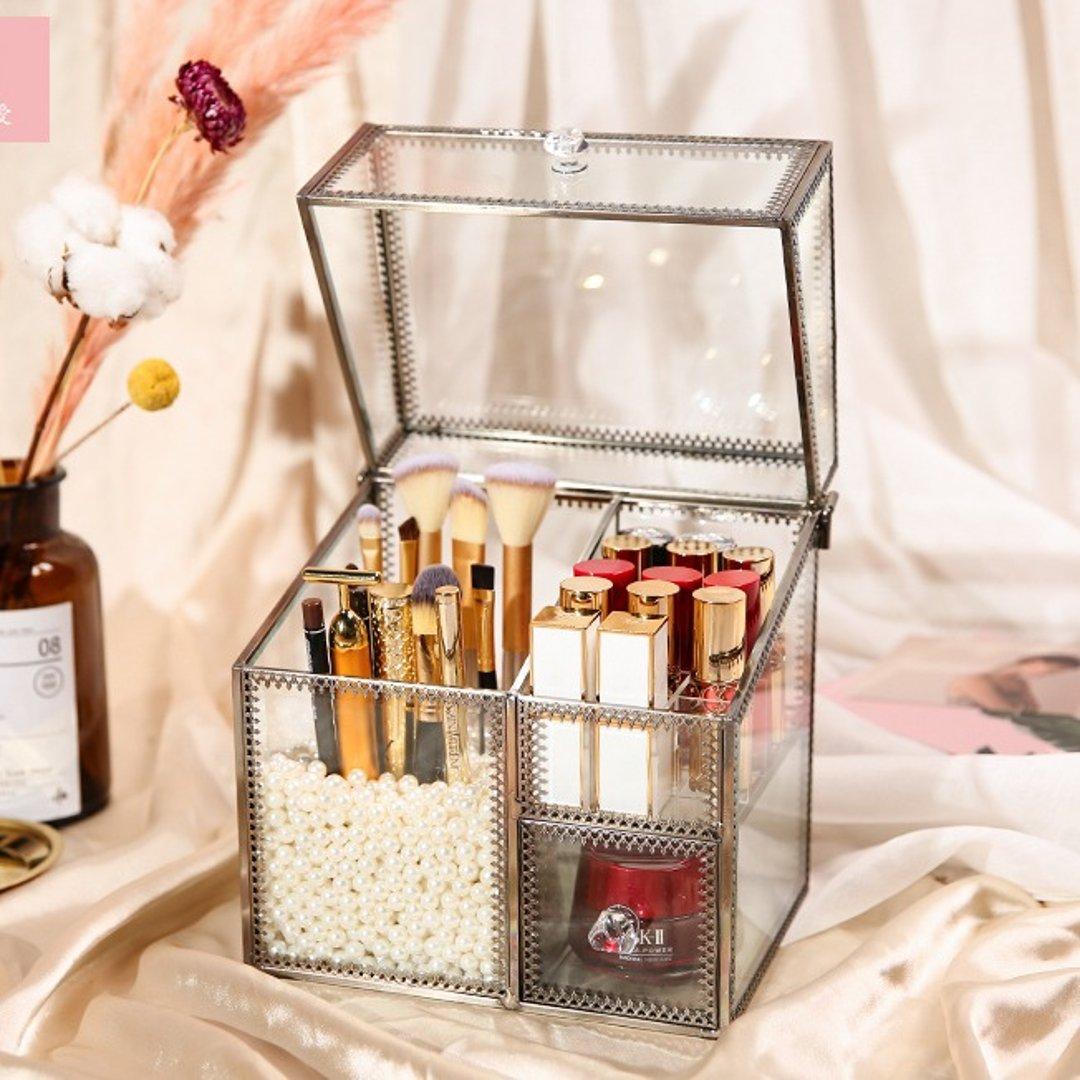 薇爱桌面化妆品收纳架梳妆台护肤品口红杂物收纳盒面膜置物架刷桶