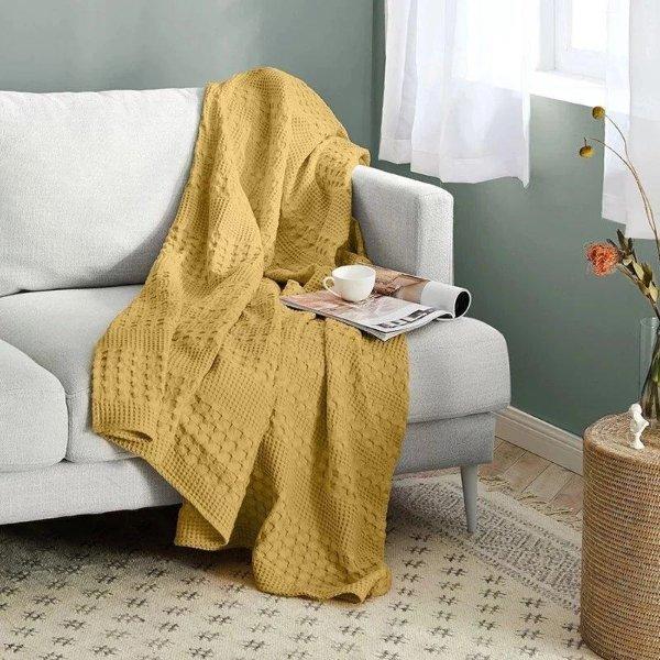 华夫格图案棉质盖毯