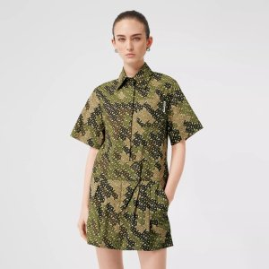 BurberryShort-sleeve Monogram Print Shirt Dress