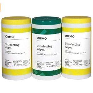 $8.54补货:Solimo 消毒湿巾75片X3罐 共225片