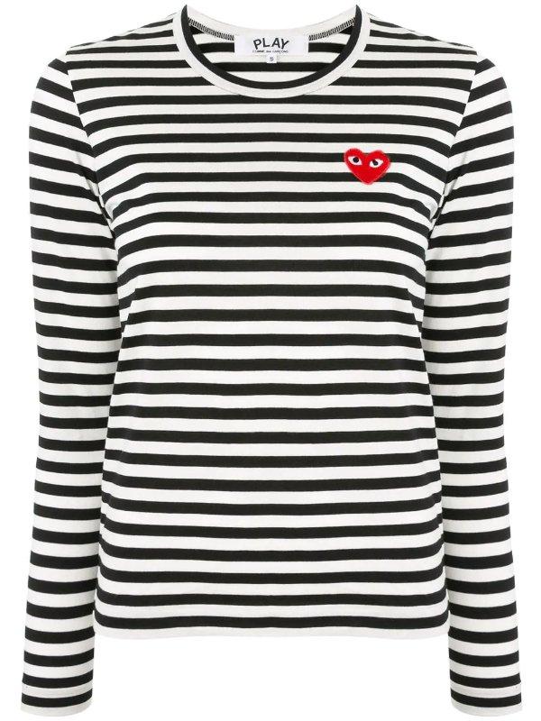 爱心条纹T恤
