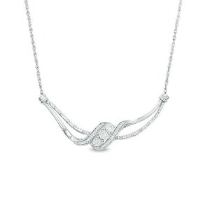 1/5 CT. T.W. Diamond Three Stone Bypass Ribbon Necklace in Sterling Silver|Zales