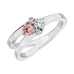 Blue NileLIGHTBOX Lab-Grown Pink & White Diamond Round Cluster Ring in 14k White Gold (1/2 ct. tw.) | Blue Nile