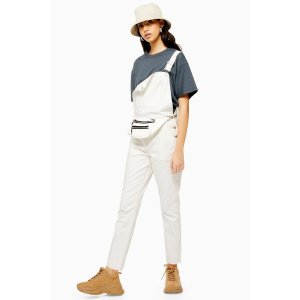 TopshopWhite Denim Pocket Dungarees