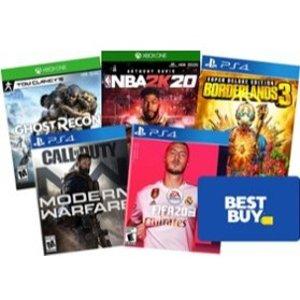 满$99再送$25 Best Buy 礼卡PS4 / Xbox One 实体版游戏特卖, 生化2 全境2 鬼泣5 都参加