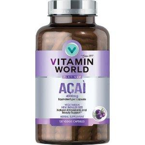 VITAMIN WORLDAcai 4000 Mg 120 Capsules | Acai Berry Phytonutrient Supplements | Vitamin World