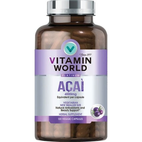 Acai 4000 Mg 120 Capsules | Acai Berry Phytonutrient Supplements | Vitamin World