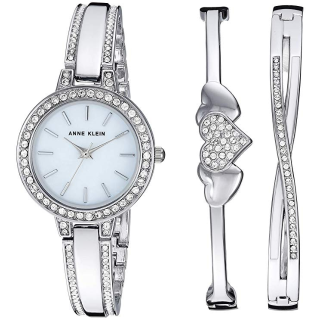 $59.99 (原价$175)+包邮史低价:Anne Klein 施华洛世奇水晶珍珠母贝腕表套装