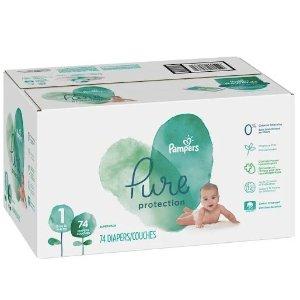 3盒再减$15,每片约$0.2Pampers Pure婴儿纸尿裤超大装优惠,尺寸1 (8-14 lb), 74片/盒