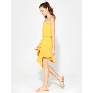 HalstonStrapless Flounce Dress