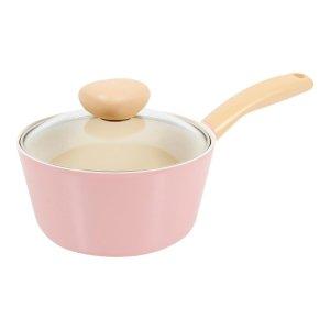 Neoflam家用陶瓷不粘涂层汤锅 含有玻璃蒸汽孔锅盖 #粉红色 7in 1.5L