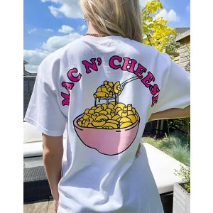 oversized t-shirt with mac n cheese graphic back print in white