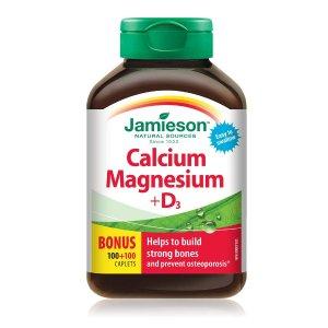 $9.47 (原价$11.99)Jamieson健美生 钙镁+维生素D3复合片(200片装)