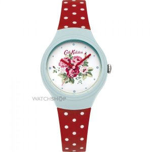 Ladies' Cath Kidston Spray Flowers Red Polka Dot Silicone Strap Watch