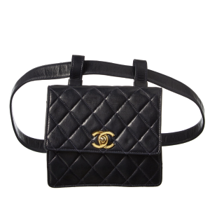 Chanel Navy Quilted Lambskin Leather CC Pouch Belt Bag