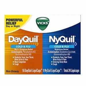 $6.45 (原价$11.29)再降:Vicks DayQuil NyQuil 感冒药 24 粒