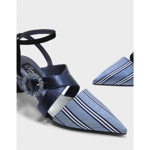 Navy Embellished Buckle Leather Heels | CHARLES & KEITH