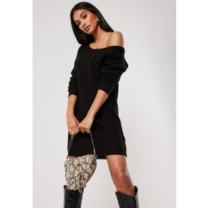 Missguided- Black Off The Shoulder Knitted Sweater Dress