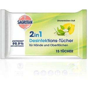 15片仅需€1.62Sagrotan 柠檬花香味消毒湿巾补货 为第二波疫情做好准备