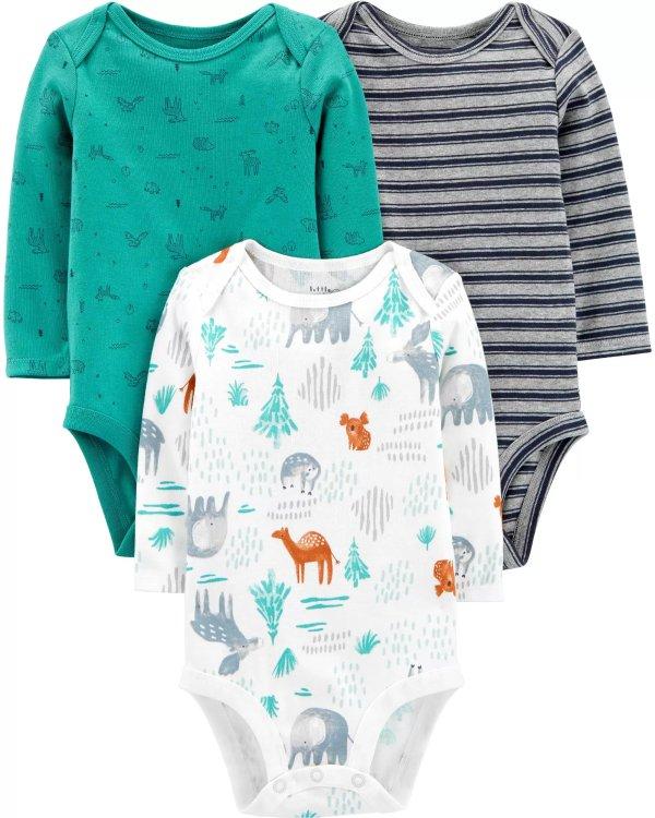 婴儿有机棉包臀衫3件套