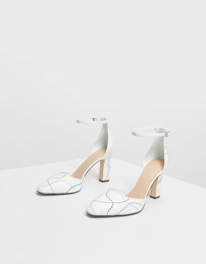 White Almond Toe Ankle Strap Heels | CHARLES & KEITH US