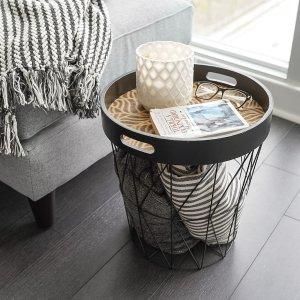 $64.95(原价$79.95)时尚篮筐桌 卧室床头收纳桌 篮筐收纳杂物小巧实用