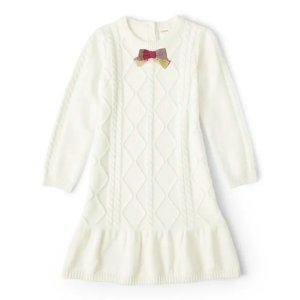 Gymboree100%精梳棉女童白色针织连衣裙
