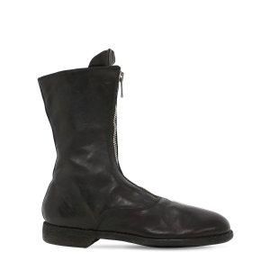 GUIDI 1896黑色前拉链靴
