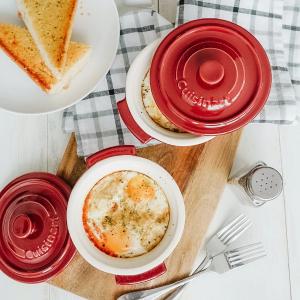 7.5折 每枚仅$15.99Cuisinart 带盖陶瓷锅2件套 高颜值烘焙好手 宅家煲汤焗饭
